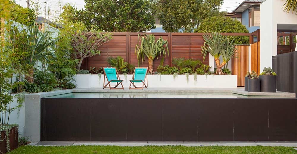 Birchgrove waterfont landscaping and pool garden design by Bell Landscapes, Sydney.